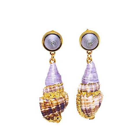 Taupe Cone Shell Earrings