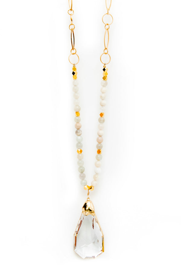 CRYSTAL PENDANT ON MOONSTONE BEADS AND GOLD CHAIN