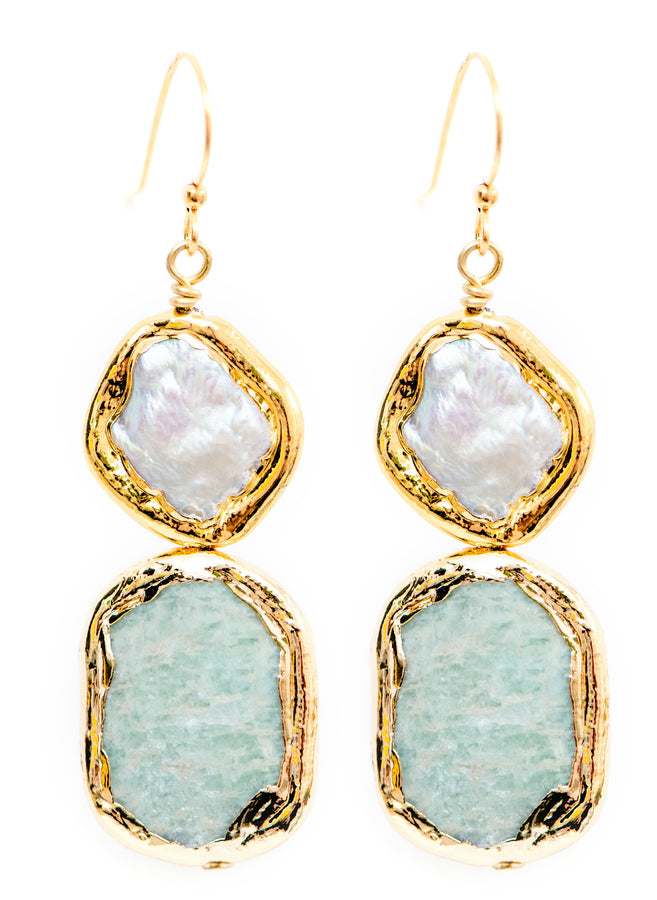 PEARL AND AMAZONITE EARRINGS