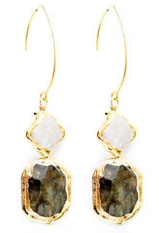 MOTHER OF PEARL AND LABRADORITE EARRINGS