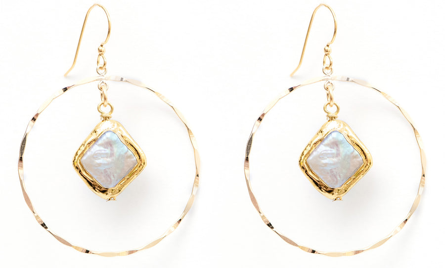 GOLD FILL HOOPS WITH MOTHER OF PEARL STONES