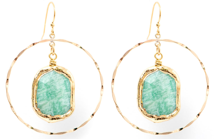 GOLD FILL HOOPS WITH AMAZONITE STONES