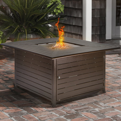 Barton Fire Pit Square Table Lp Propane Gas With Cover And