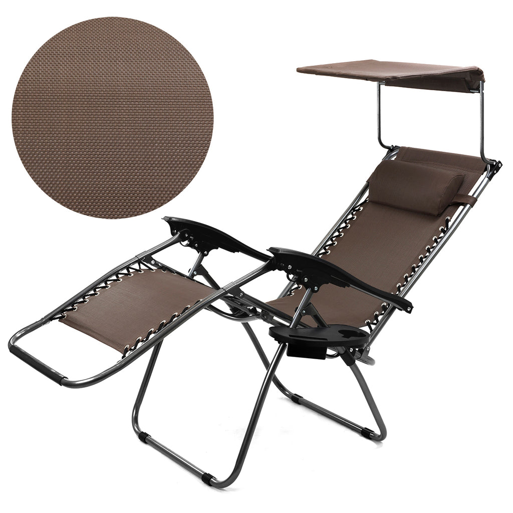 Canopy Sun Shade Zero Gravity Lounge Chair Pillow Patio