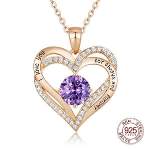 New Original Design Double Heart Charm Necklace I love you for always and forever S925 Silver Necklace