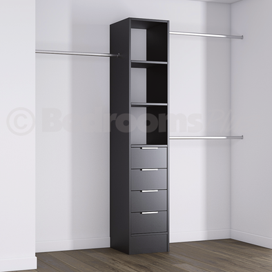 Black Deluxe 4 Drawer Tower Shelving Unit with Hanging Bars