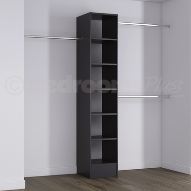 Black Deluxe Tower Shelving Unit with Hanging Bars