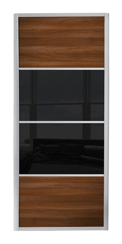 Ellipse Aluminium frame walnut/black glass/walnut sliding wardrobe door
