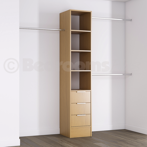 Oak Deluxe 3 Drawer Tower Shelving Unit with Hanging Bars