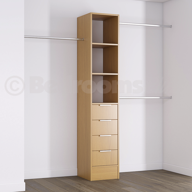 Oak Deluxe 4 Drawer Tower Shelving Unit with Hanging Bars
