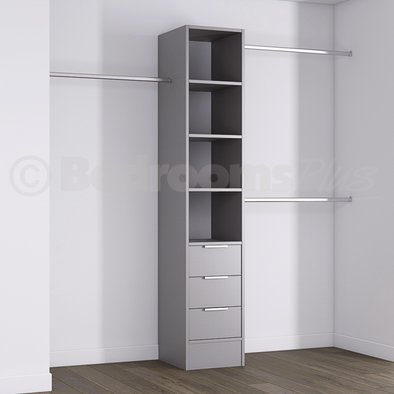 Silver Deluxe 3 Drawer Tower Shelving Unit with Hanging Bars