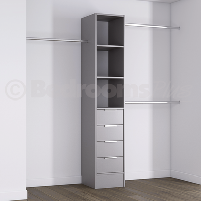 Silver Deluxe 4 Drawer Tower Shelving Unit with Hanging Bars