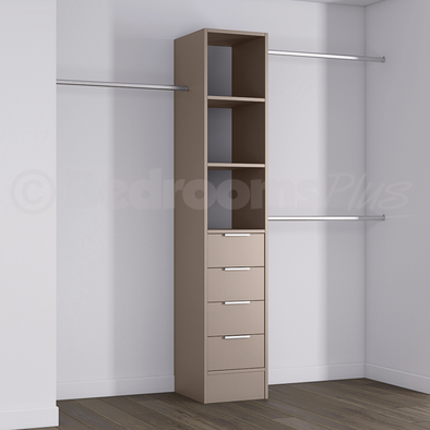 Stone Grey Deluxe 4 Drawer Tower Shelving Unit with Hanging Bars