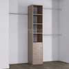 Stone Grey Deluxe 3 Drawer Tower Shelving Unit with Hanging Bars