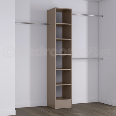 Stone Grey Deluxe Tower Shelving Unit with Hanging Bars