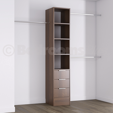 Walnut Deluxe 3 Drawer Tower Shelving Unit with Hanging Bars