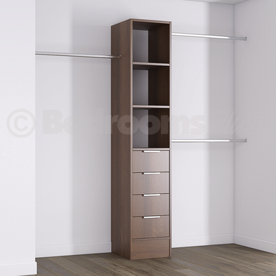 Walnut Deluxe 4 Drawer Tower Shelving Unit with Hanging Bars