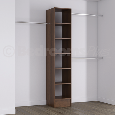 Walnut Deluxe Tower Shelving Unit with Hanging Bars
