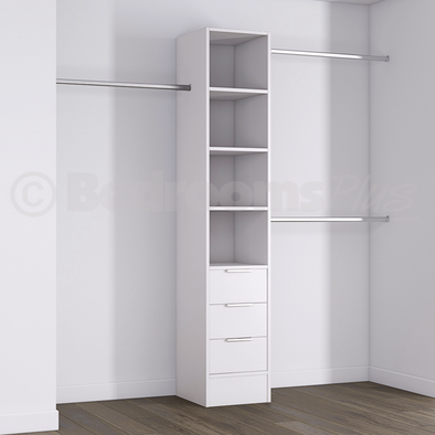 White Deluxe 3 Drawer Tower Shelving Unit with Hanging Bars