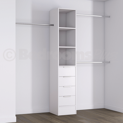 White Deluxe 4 Drawer Tower Shelving Unit with Hanging Bars