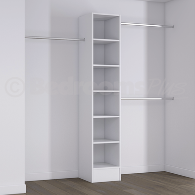 White Deluxe Tower Shelving Unit with Hanging Bars