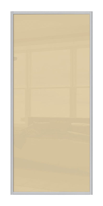 Contour Aluminium Frame Cream Glass Sliding Wardrobe Door