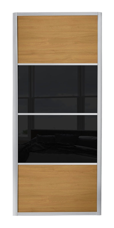 Ellipse Aluminium frame oak/black glass/oak sliding wardrobe door