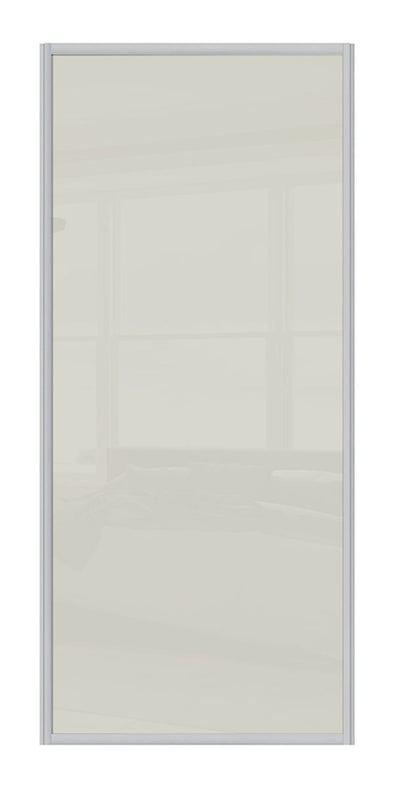 Contour Aluminium Frame Soft White Glass Sliding Wardrobe Door