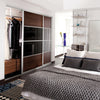 Ellipse Aluminium frame soft white glass/walnut/soft white glass sliding wardrobe door