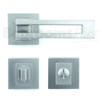 Bathroom WC Door Handle Pair - Lever on Rose - Gloss Chrome Finish ZA6
