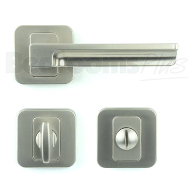 Bathroom WC Door Handle Pair - Lever on Rose - Gloss Nickel - Plated Finish ZA5