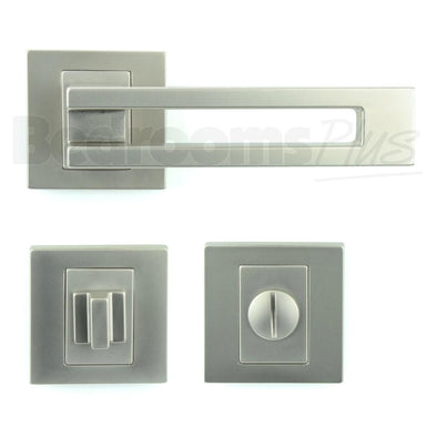 Bathroom WC Door Handle Pair - Lever on Rose - Gloss Nickel - Plated Finish ZA6