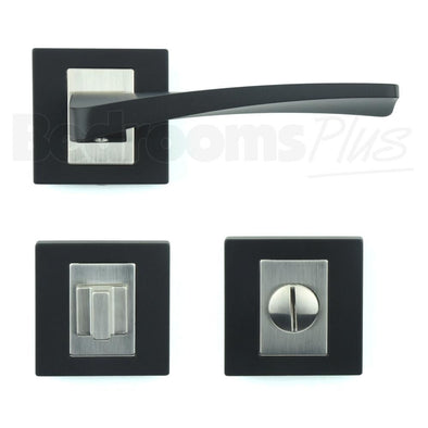 Bathroom WC Door Handle Pair - Lever on Rose - Matt Black Finish ZA3