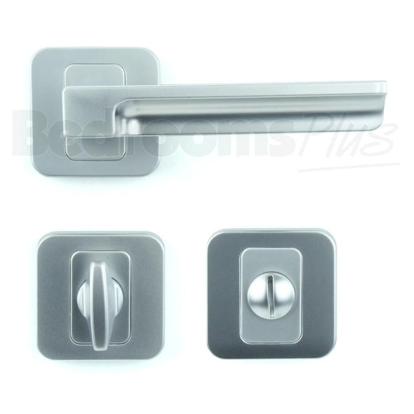 Bathroom WC Door Handle Pair - Lever on Rose - Matt Chrome Finish ZA5