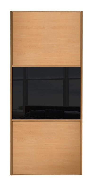 Classic Beech Frame Beech/Black Glass/Beech Glass Sliding Wardrobe Door