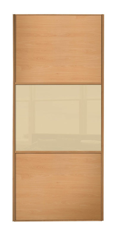 Classic Beech Frame Beech/Cream Glass/Beech Sliding Wardrobe Door
