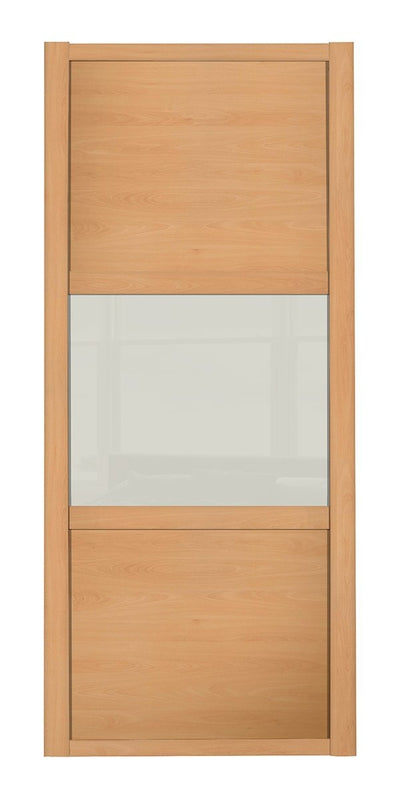 Shaker Classic Beech Frame Beech/Soft White Glass/Beech 3 Panel Shaker Sliding Wardrobe Door