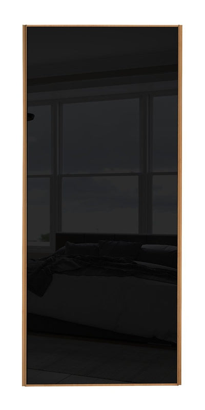 Classic Beech Frame Black Glass Sliding Wardrobe Door