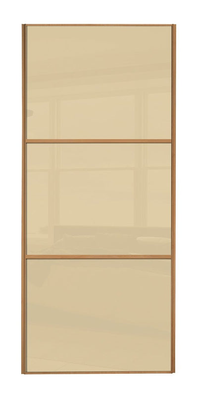 Classic Beech Frame Cream/Cream/Cream Glass Sliding Wardrobe Door