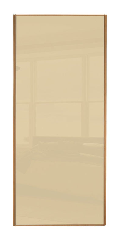 Classic Beech Frame Cream Glass Sliding Wardrobe Door