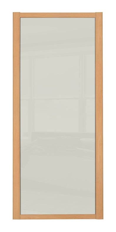 Shaker Beech Frame Soft White Glass Shaker Sliding Wardrobe Door