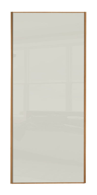 Classic Beech Frame, Soft White Glass Sliding Wardrobe Door
