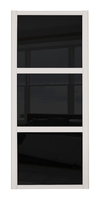 Shaker Cashmere Frame 3 Panel Black Glass Sliding Wardrobe Door