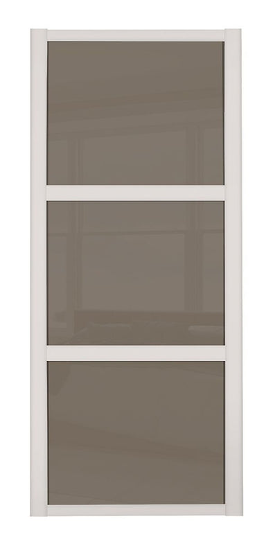 Shaker Cashmere Frame 3 Panel Cappuccino Glass Sliding Wardrobe Door