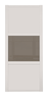 Shaker Cashmere Frame 3 Panel Cashmere & Cappuccino Glass Sliding Wardrobe Door