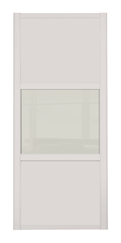 Shaker Cashmere Frame 3 Panel Cashmere & Soft White Glass Sliding Wardrobe Door