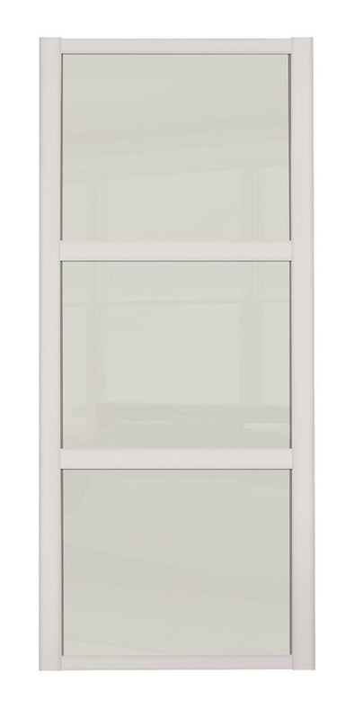 Shaker Cashmere Frame 3 Panel Soft White Glass Sliding Wardrobe Door