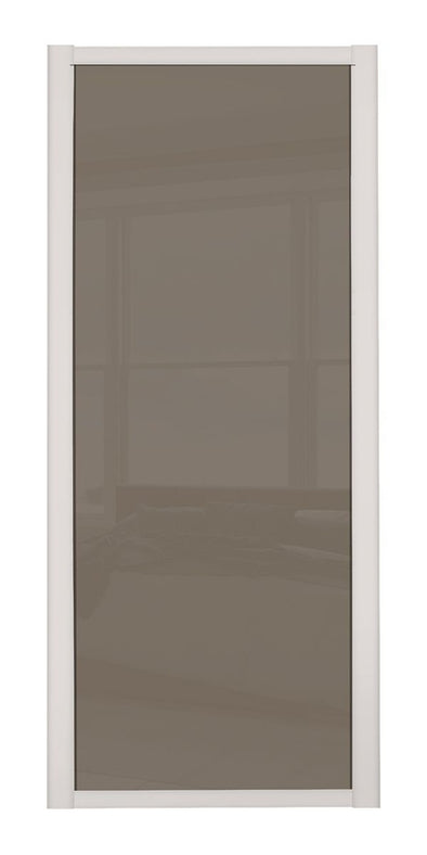 Shaker Cashmere Frame Cappuccino Glass Sliding Wardrobe Doors