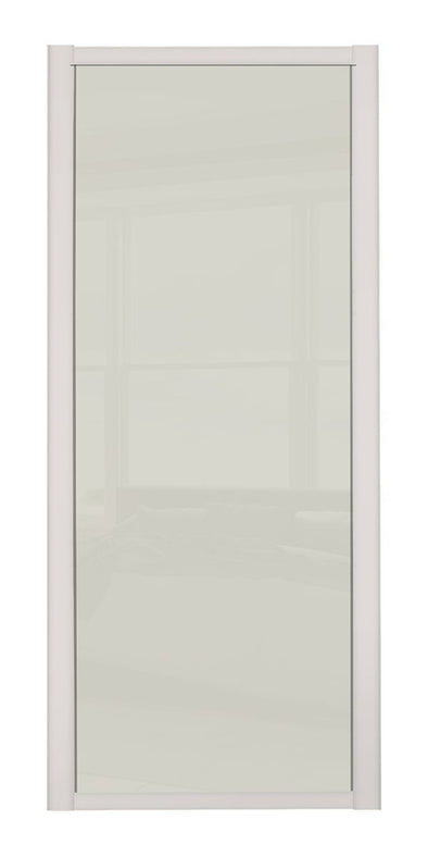 Shaker Cashmere Frame Soft White Glass Sliding Wardrobe Door