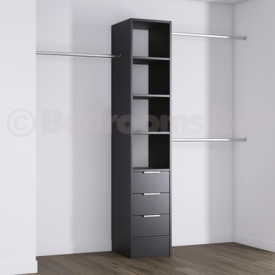Black Deluxe 3 Drawer Tower Shelving Unit with Hanging Bars